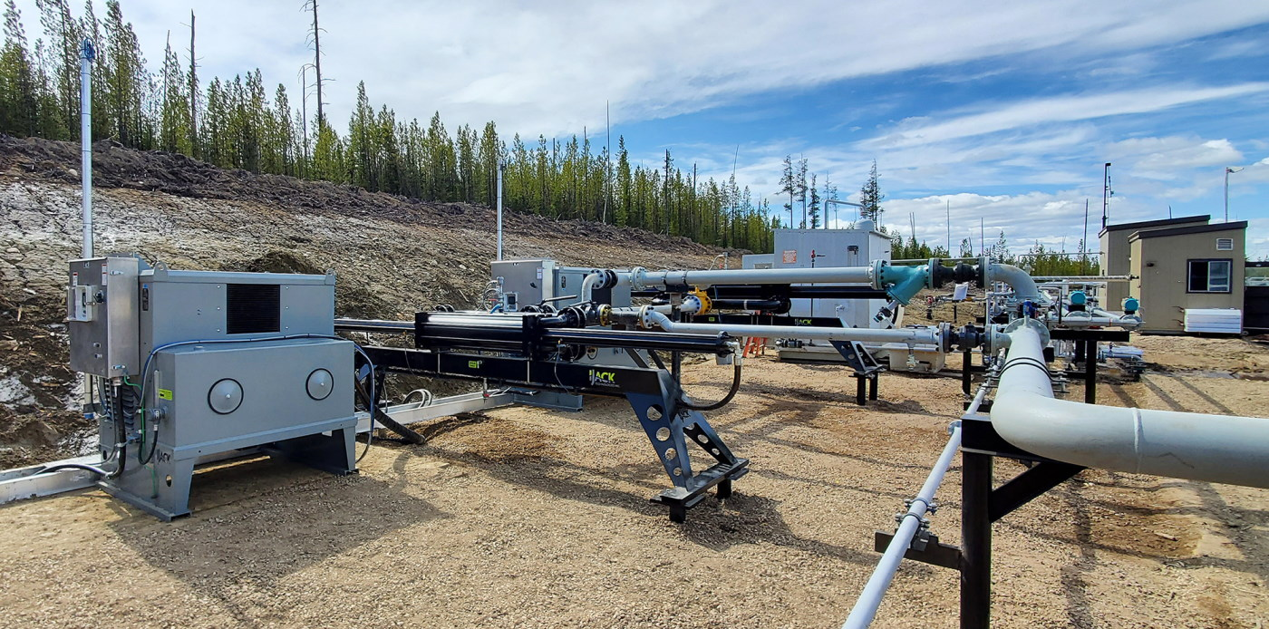 IJACK dual XFER multi-phase oil and gas transfer and booster pump tied into satellite office